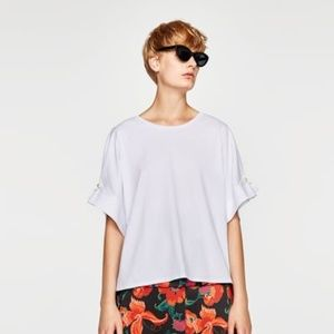 Zara Large White T-Shirt with Faux Pearl Sleeve